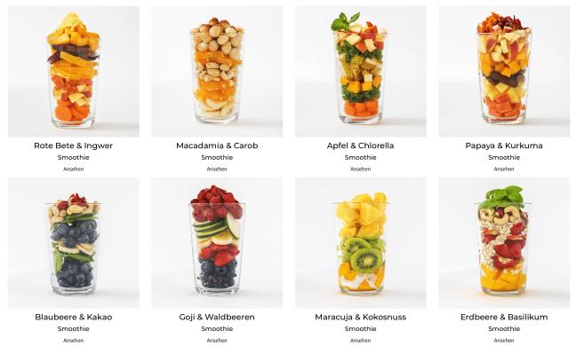 Eine kleine Auswahl an Froozeo-Smoothies :-)